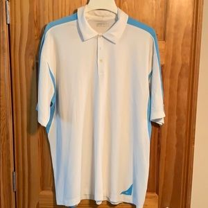 White and blue golf polo